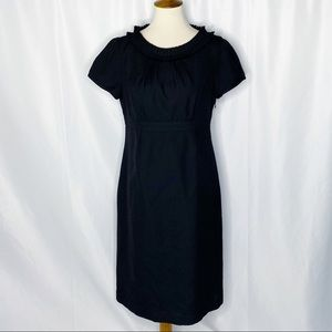 Boden Black Wool Shift Dress Pleated Neckline